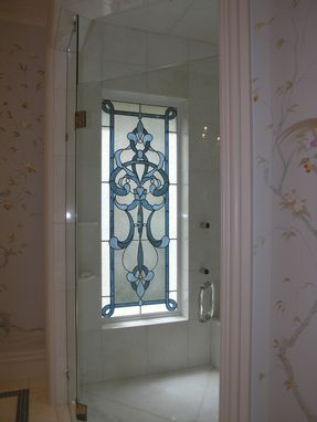 Custom Made Custom Home Coordination Of Stained Glass Windows, Doors, Cabinets, And Antique Mirror Motifs