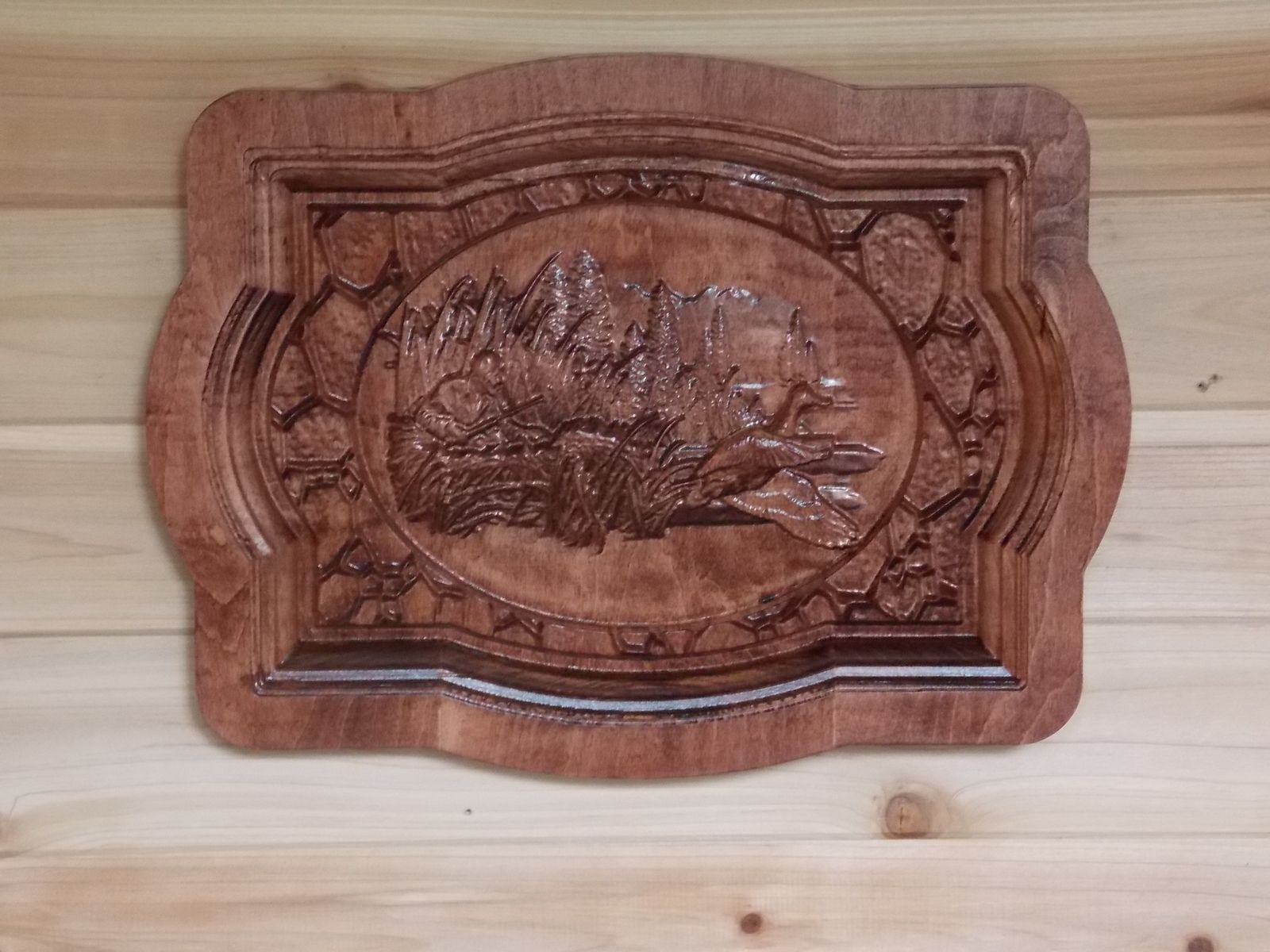 Hand Crafted Carved Wood Duck Wood Wall Hanging Rustic
