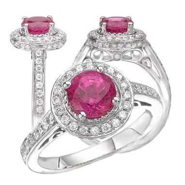 Custom Made 18k Lab-Created 6.5mm Round Pink Sapphire Engagement Ring With Natural Diamond Halo