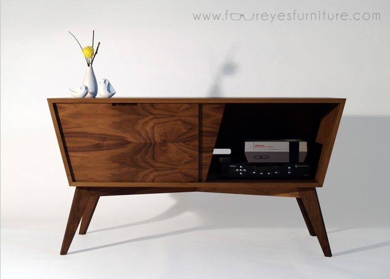Hand crafted bad larry walnut media console by foureyes - Made com meuble tv ...
