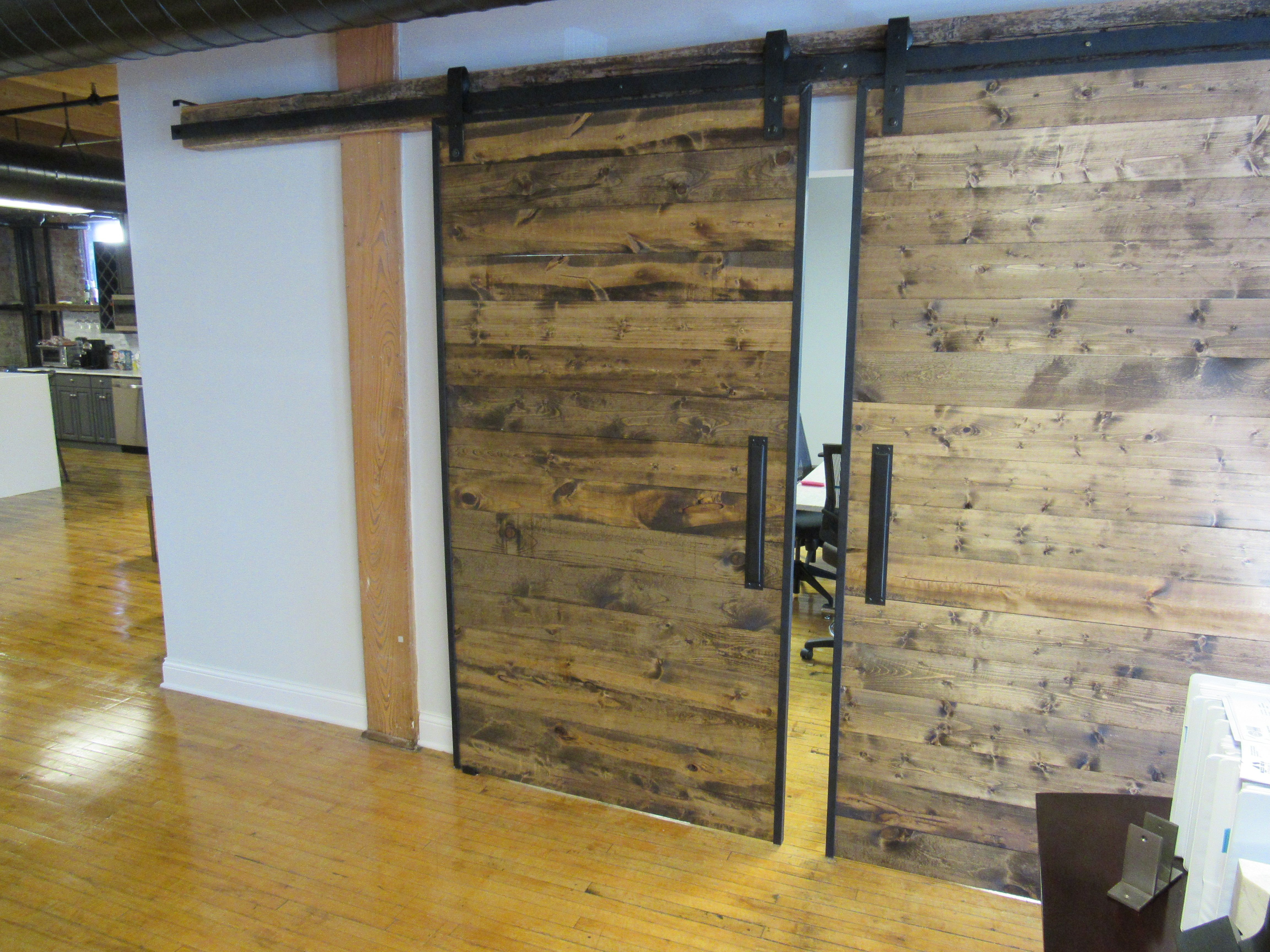 handmade industrial reclaimed barn doors on steel track by the urban reclaimed co. Black Bedroom Furniture Sets. Home Design Ideas