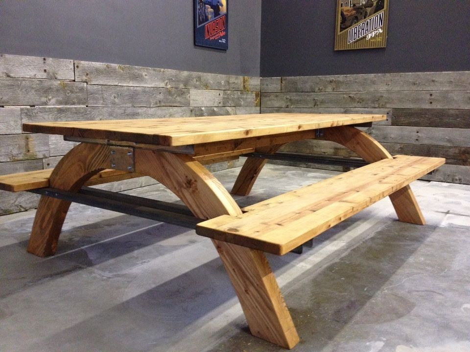 made industrial picnic table by farmhouse table