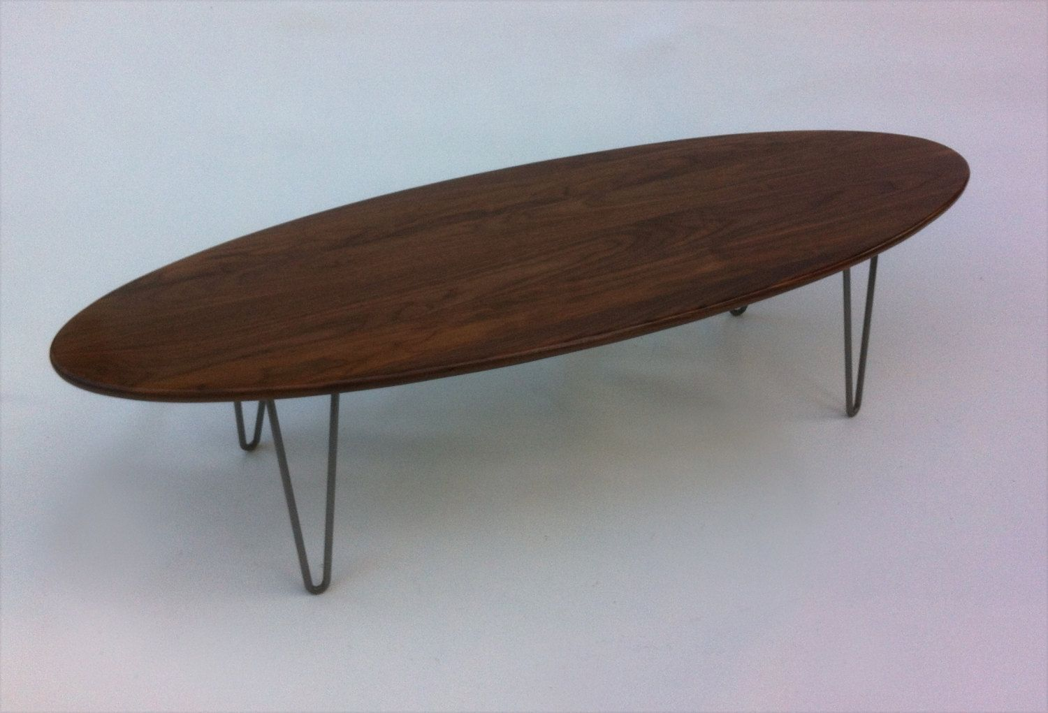 buy handmade 66 elliptical surf board shaped solid walnut mid century modern coffee table with. Black Bedroom Furniture Sets. Home Design Ideas