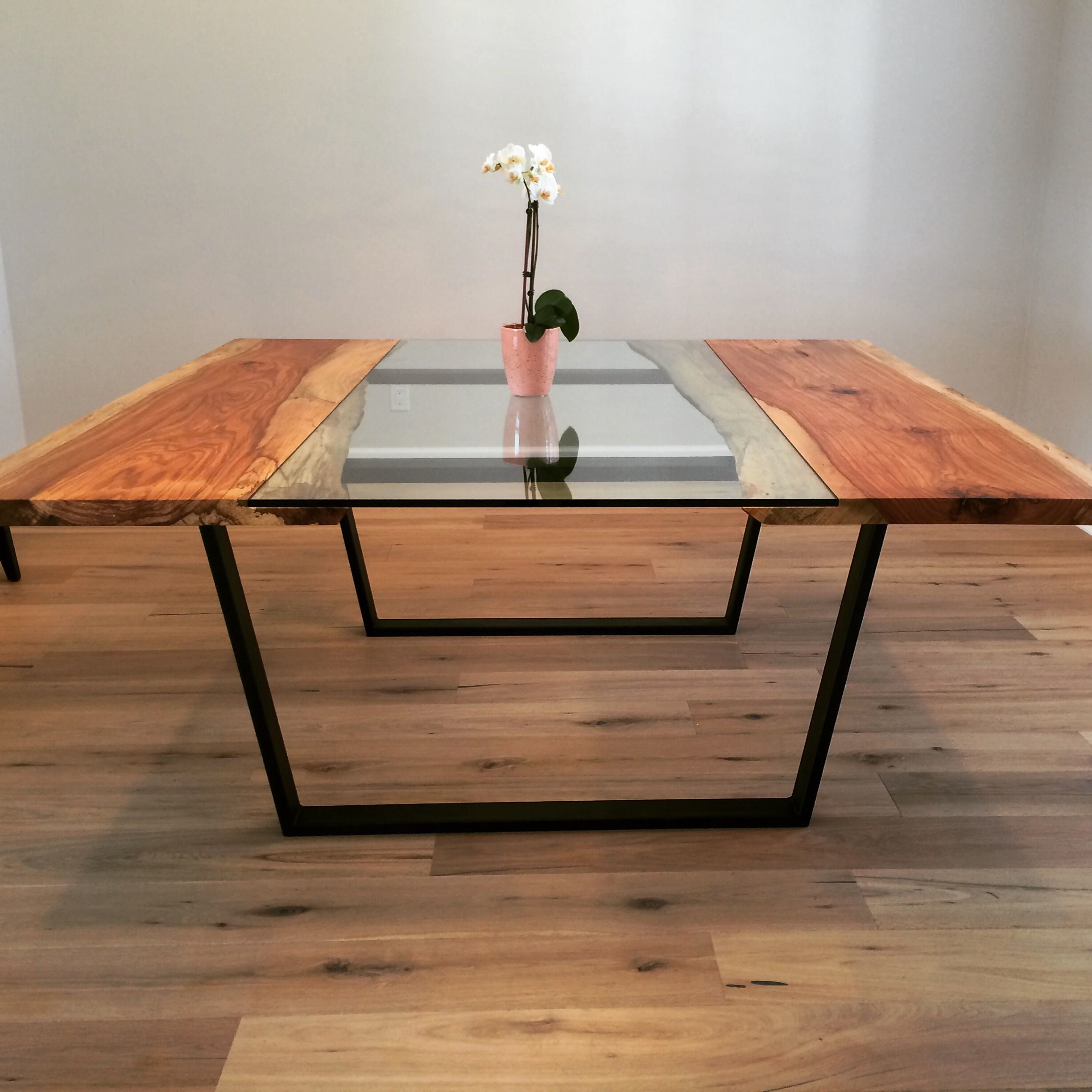 Live Edge Kitchen Table: Hand Made Pecan + Glass Square Dining Table By Custom