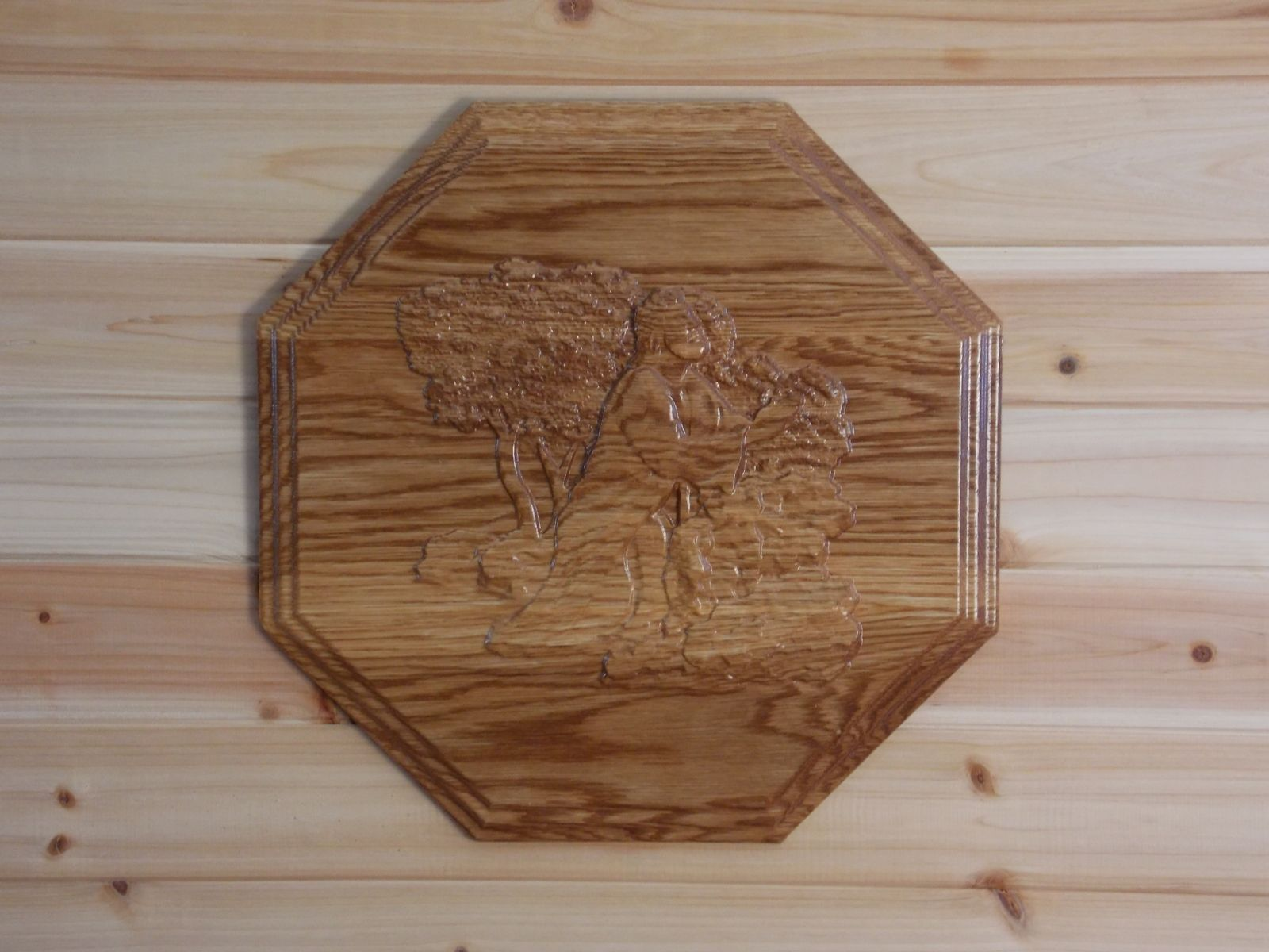 Hand crafted jesus wall hanging white oak rustic relief