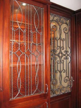 handmade leaded glass inserts for cabinets by glassworks studio