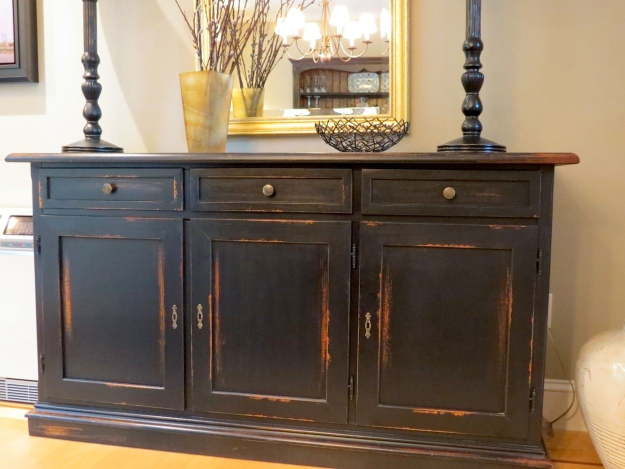 Hand made black barn wood buffet with distressed multi for Dining room sideboard designs