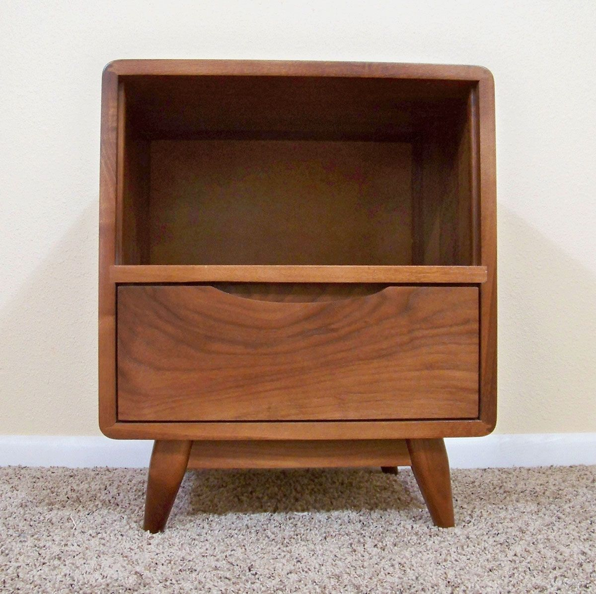 1 Drawer Danish Modern Nightstand In Sappy Walnut