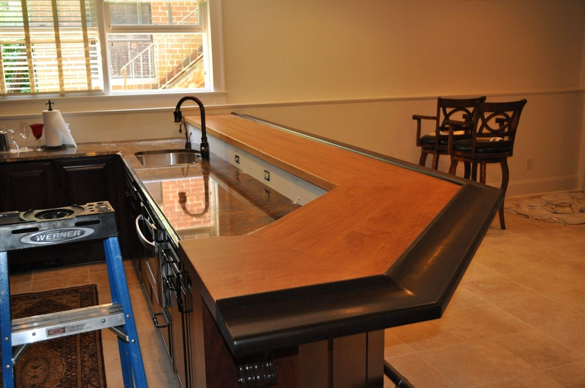 Hand Crafted American Cherry Wenge Bar Top By Craft Art