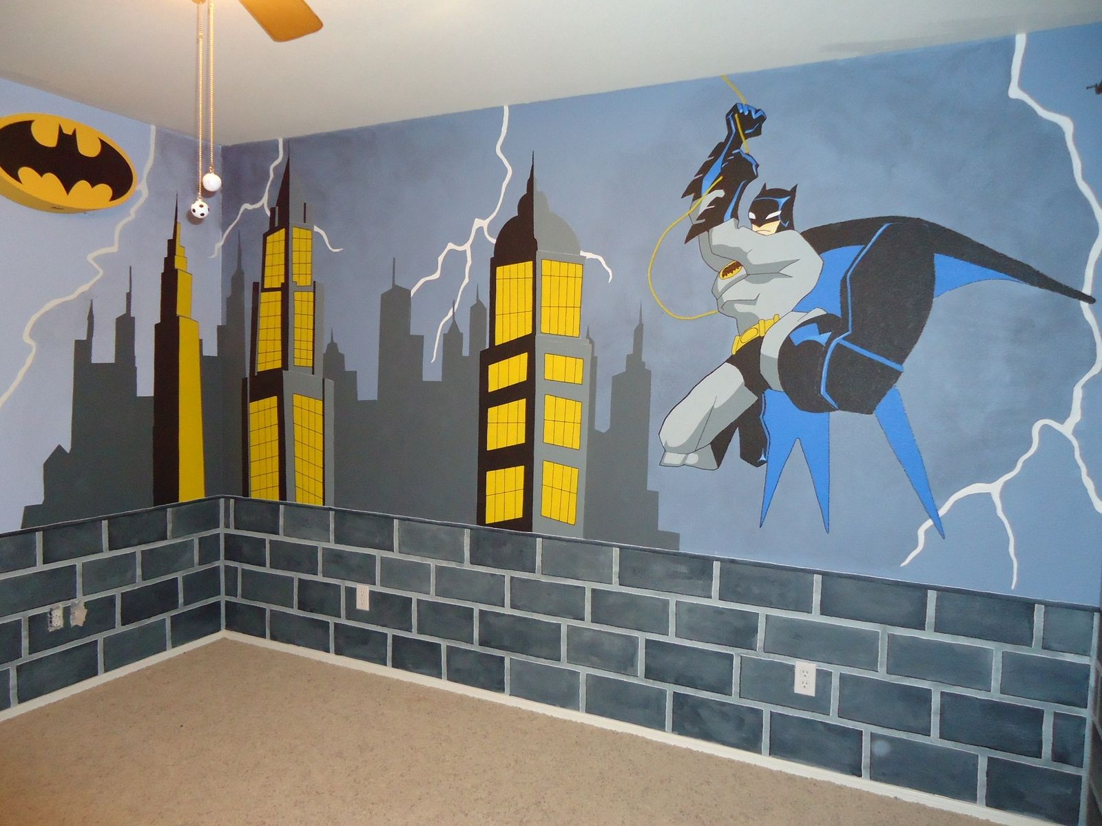 Hand crafted batman mural by kid murals by dana for Batman bedroom wall mural