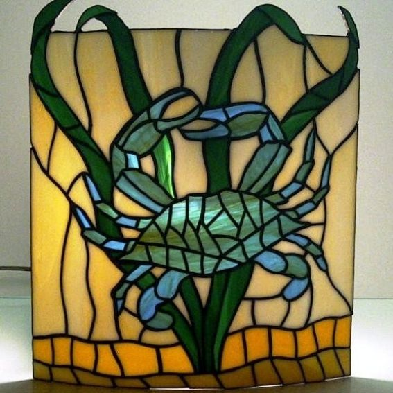 Wall Sconces Stained Glass : Custom Made Stained Glass Wall Sconce Crab Design by Terraza Stained Glass CustomMade.com