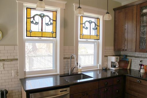 Custom Made Gingko Leaf Stained Glass Kitchen Windows
