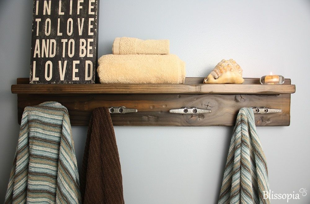 Custom Made Bath Shelf With Boat Cleat Towel Hooks By