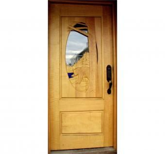 Custom Made Curly Maple Hand Carved Door