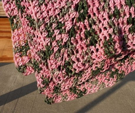 Custom Made Crochet Baby Blanket Camo Pink Green Granny Square