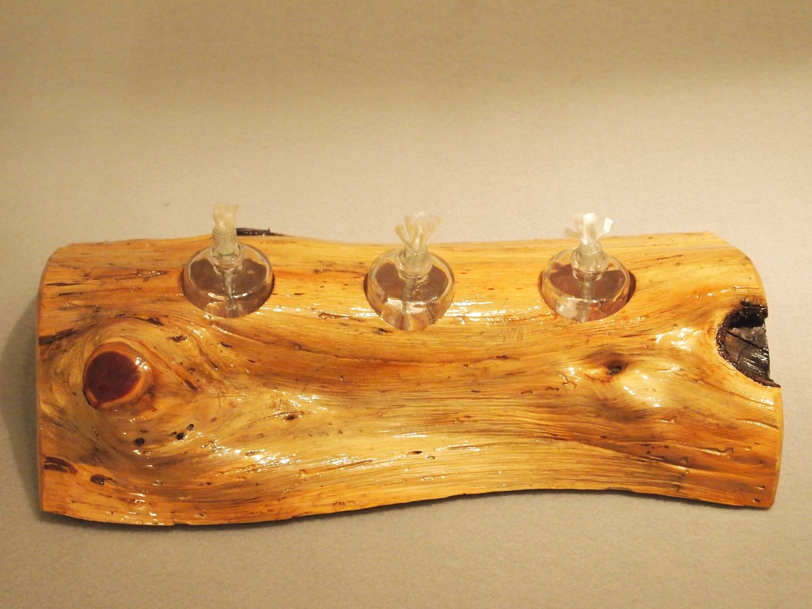 Handmade oil lamp with holder by giles wood and clay for Wooden kerosene lamp holder
