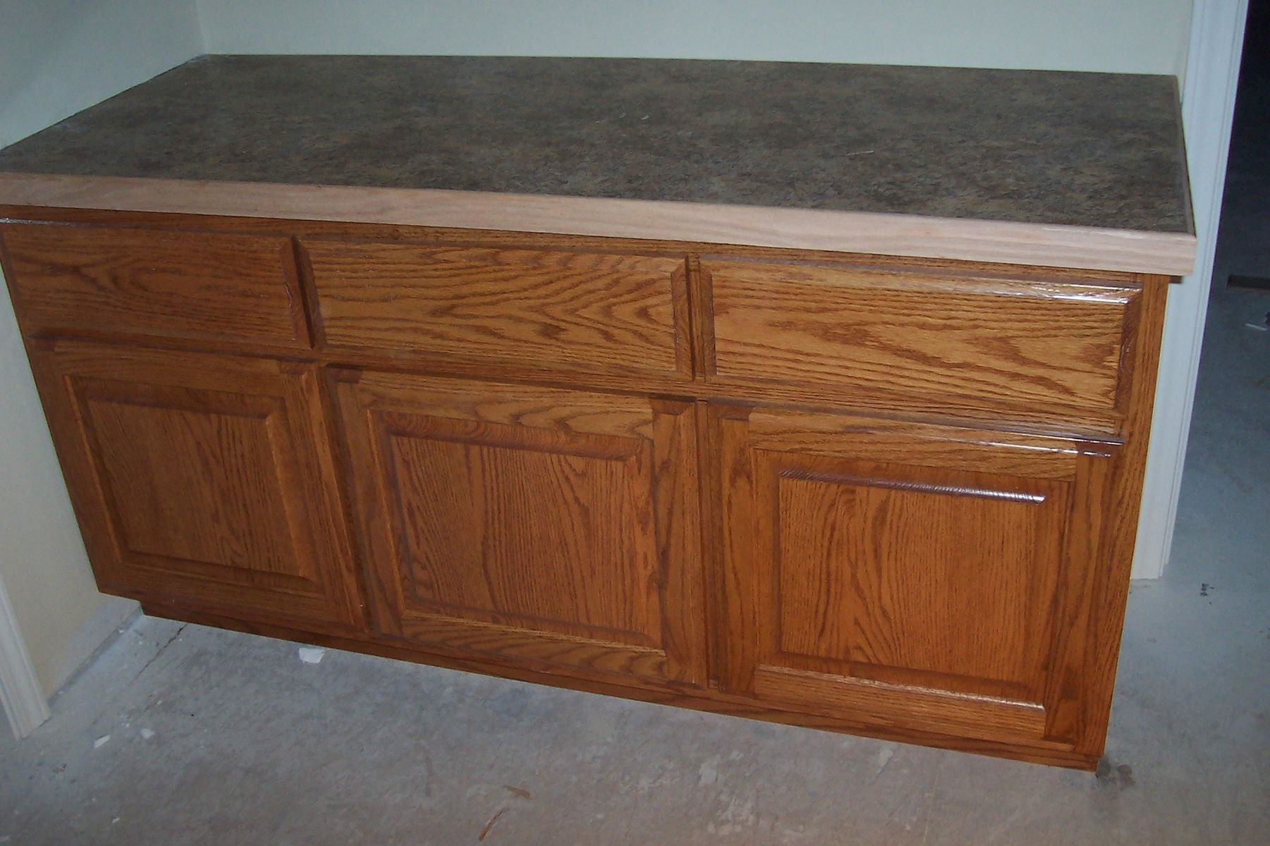 Hand crafted oak bathroom cabinet with laminate countertop for Bathroom vanity countertop cabinet