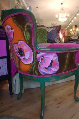 Custom Made Hand Painted Upholstered Vintage Arm Chair With Distressed Finish
