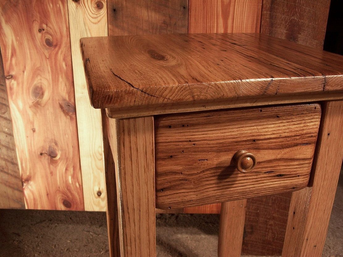 Buy A Hand Crafted Wormy Chestnut Reclaimed Wood End Table