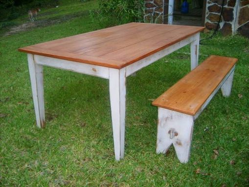 Custom Made Yellow Pine Table With Antique White Base, Matching Benches