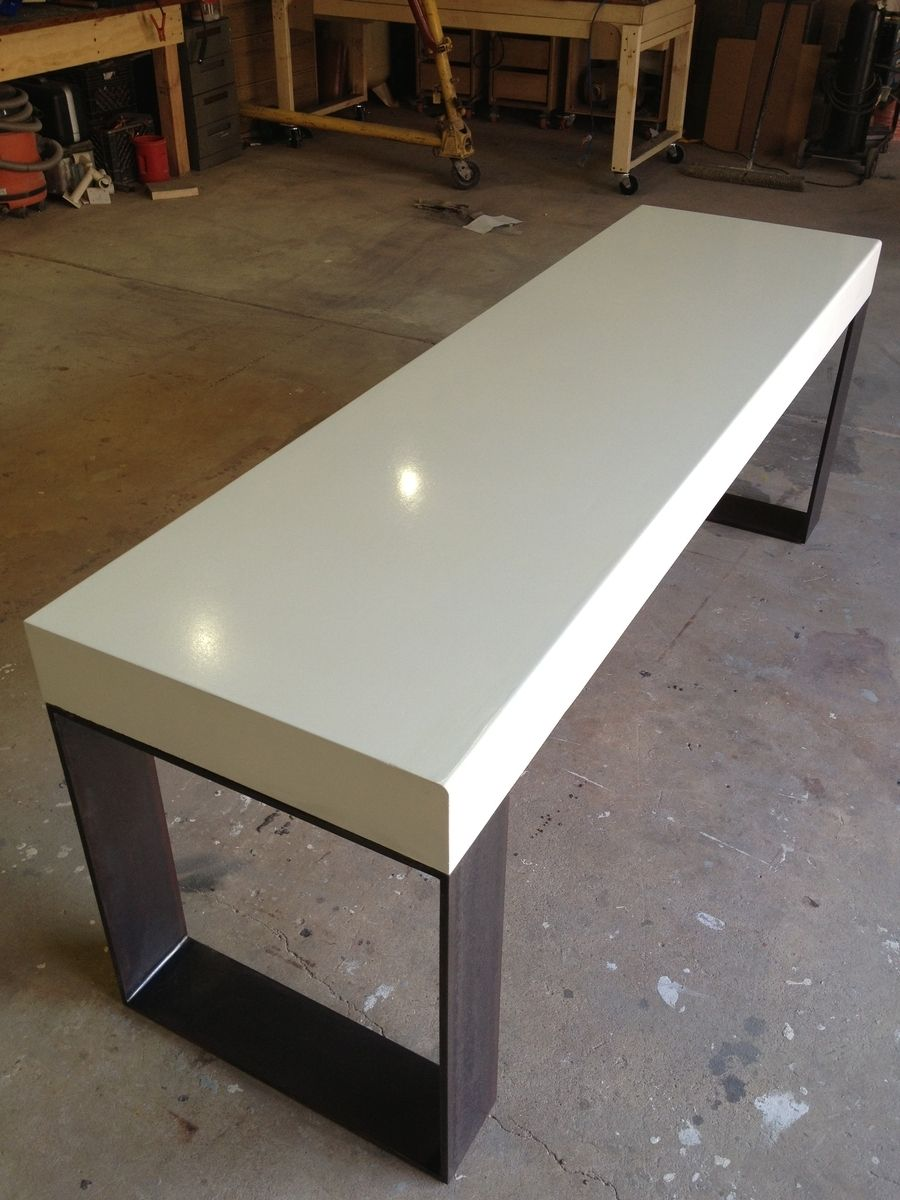 Concrete (Gfrc) Desk W/ Steel Base