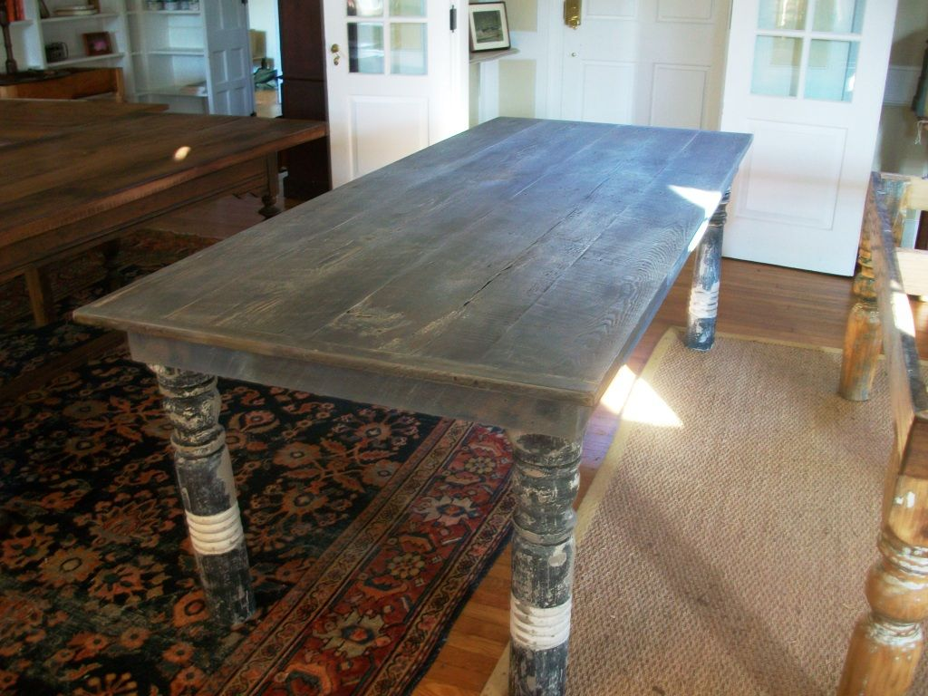 Hand Crafted Farm Table With Antique Porch Post Legs By