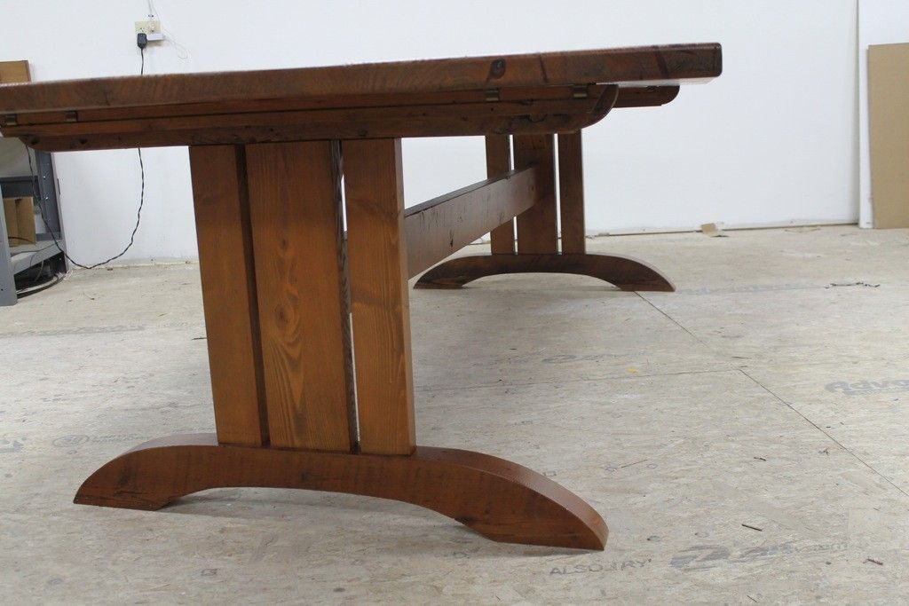 Hand made mission style trestle base for dining table by for Mission style dining table