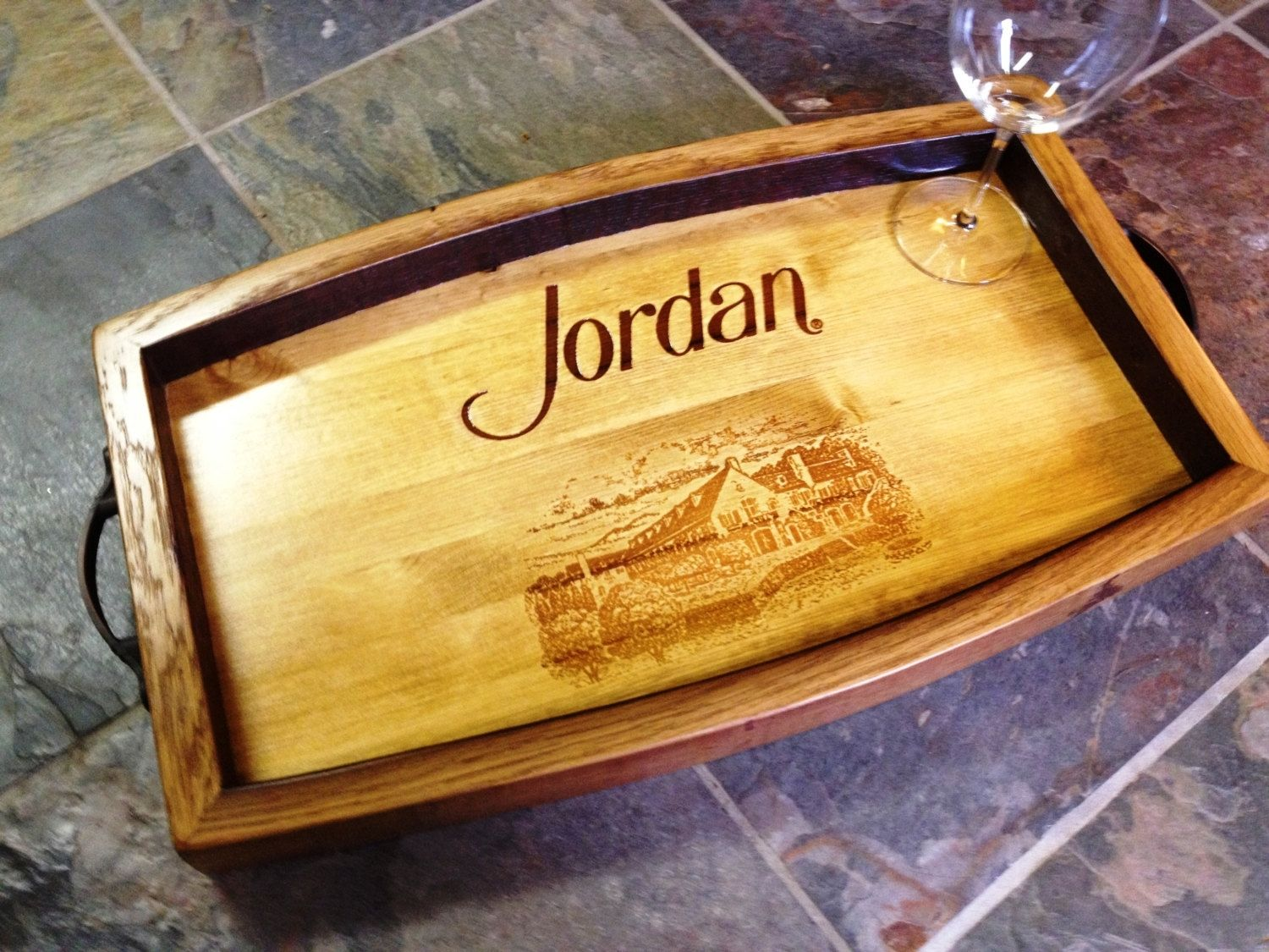 Hand Crafted Wine Crate Serving Tray Jordan By Alpine