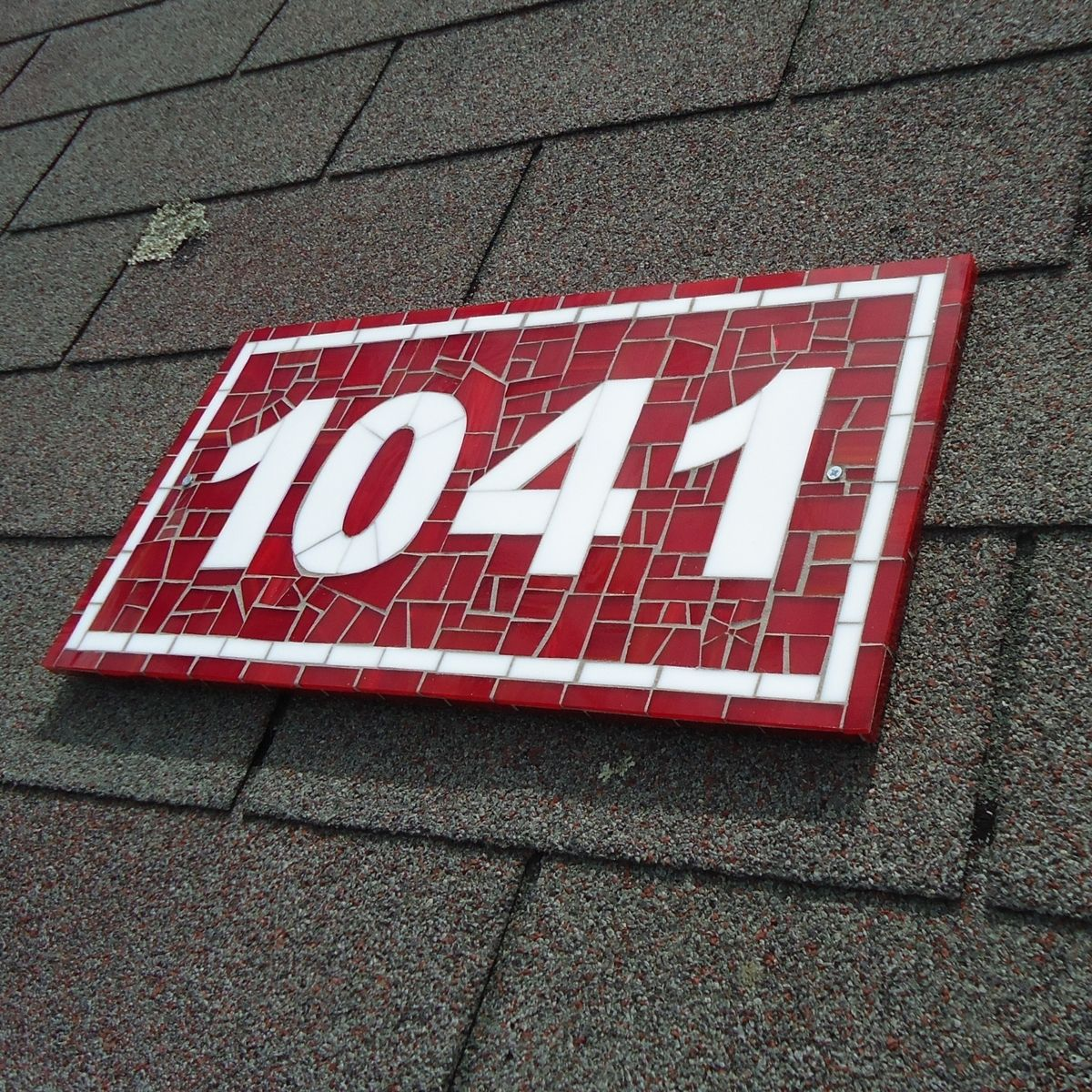 Buy A Hand Made Red And White Custom Mosaic Stained Glass Tile House Number Plaque For Outdoor