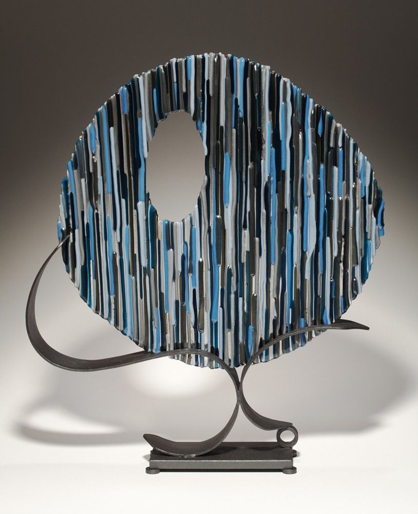 Hand Made Blue Circle Fused Glass And Metal Sculpture By