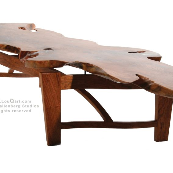 Hand Made Natural Live Edge Mesquite Slab Coffee Table By Lou Quallenberg Studios