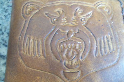 Custom Made Custom Leather Basic Wallet With Bear Head Design