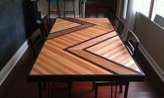 Hand Made Chevron Inspired Wooden Table Top By Built