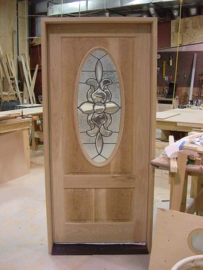 Custom Made White Oak Front Entrance Door With Oval Leaded Glass