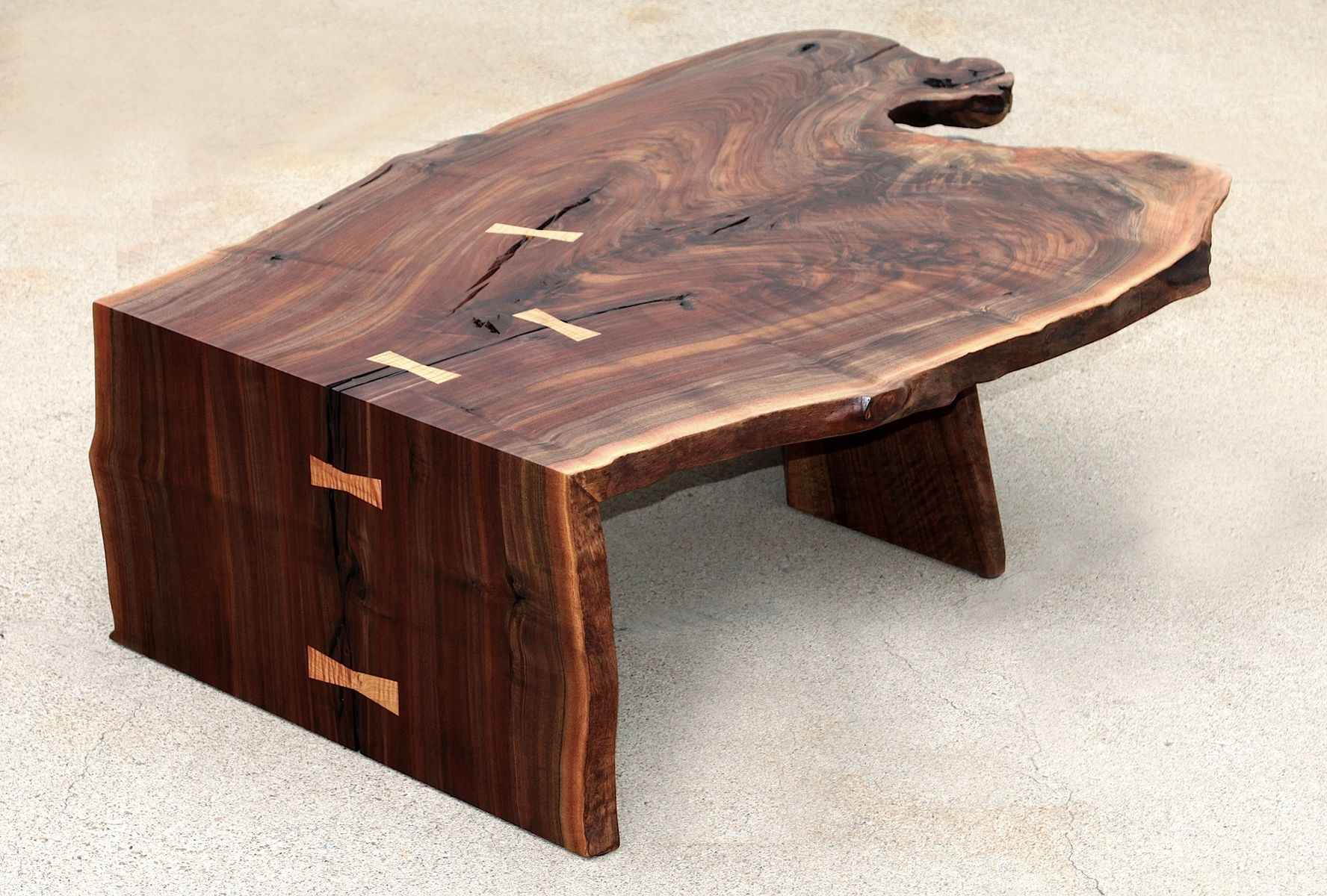 Custom modern coffee cocktail table waterfall walnut by aaron smith woodworker One of a kind coffee tables