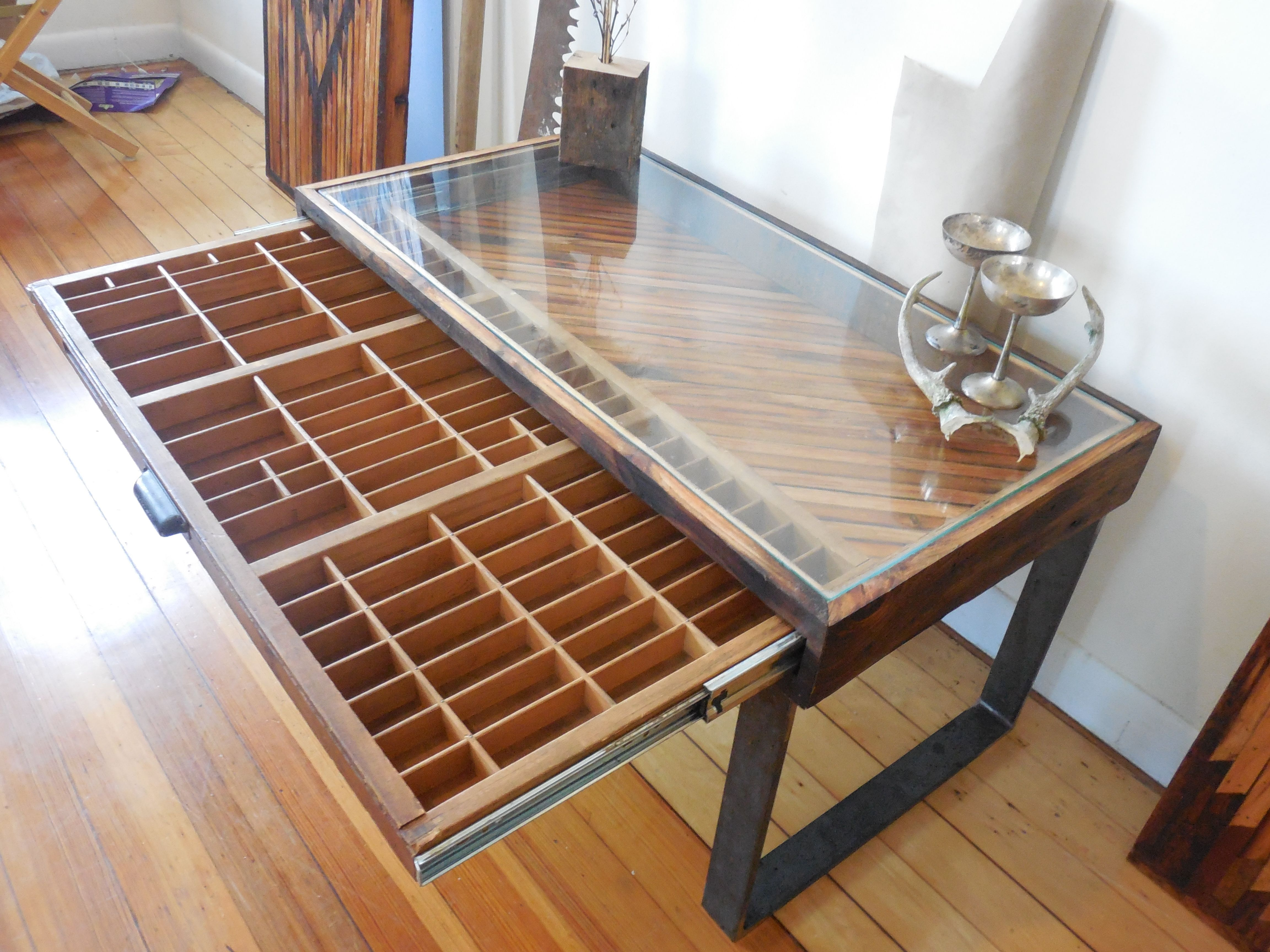 Hand Made Reclaimed Wood Coffee Table Printer Drawer By Unique Industry