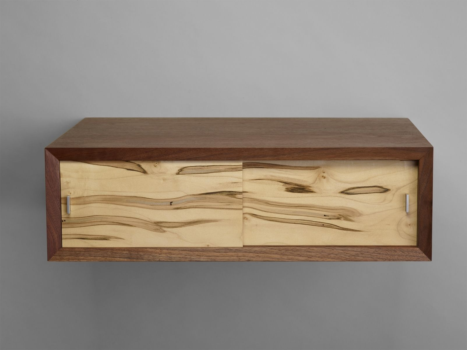 Buy a hand crafted walnut and ambrosia maple floating for Floating nightstand