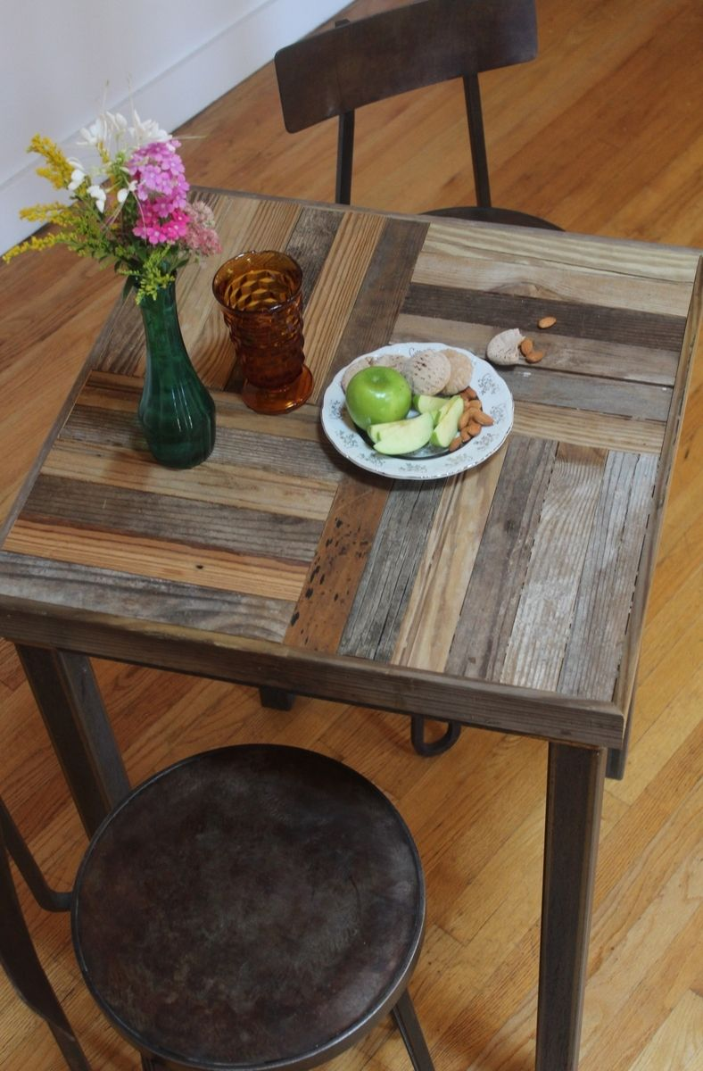 Hand made rustic reclaimed sustainably harvested wood bistro kitchen table crux 39 39 by new - Custom kitchen table ...