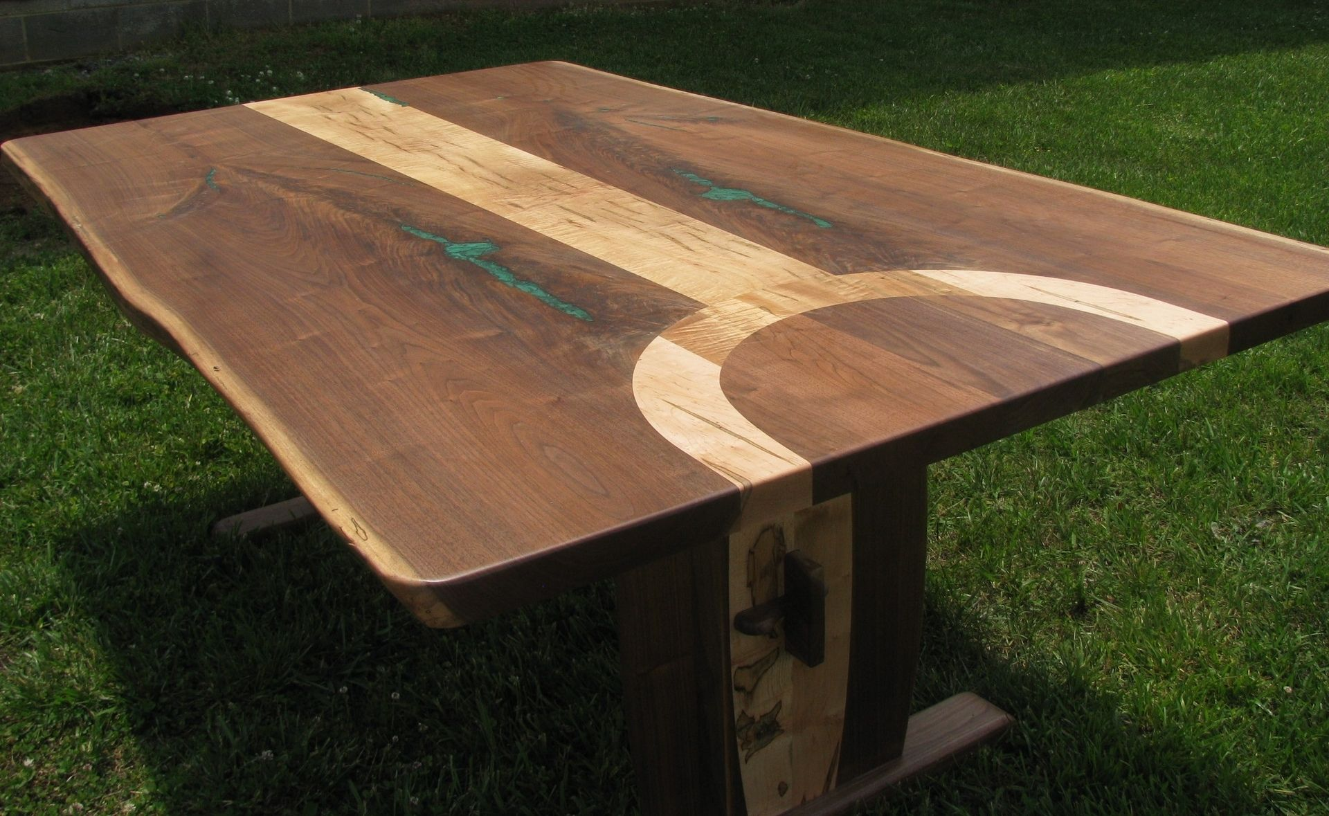 Asian Dining Room Furniture Hand Made Walnut And Ambrosia Maple Live Edge Dining Table