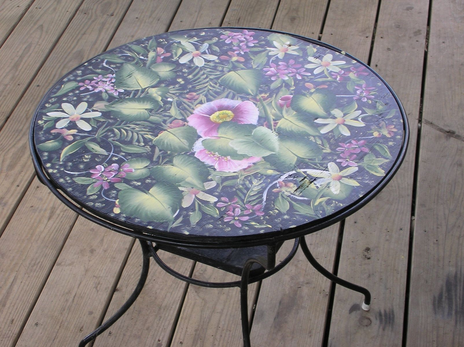 Hand Crafted Round Table For Deck Black With Flowers By I