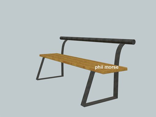 Custom Made Inca Bench, Steel And Wood