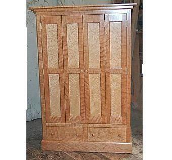 Hand made birdseye maple and flaming cherry tv cabinet by for Birds eye maple kitchen cabinets
