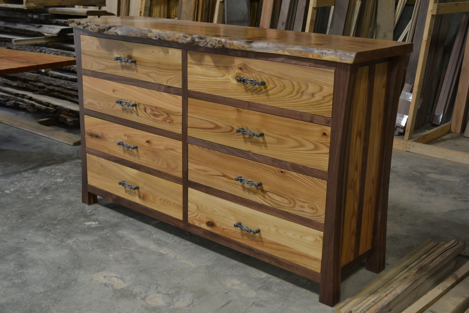 Hand Made Walnut Dresser With Live Edge Elm Burl Top By