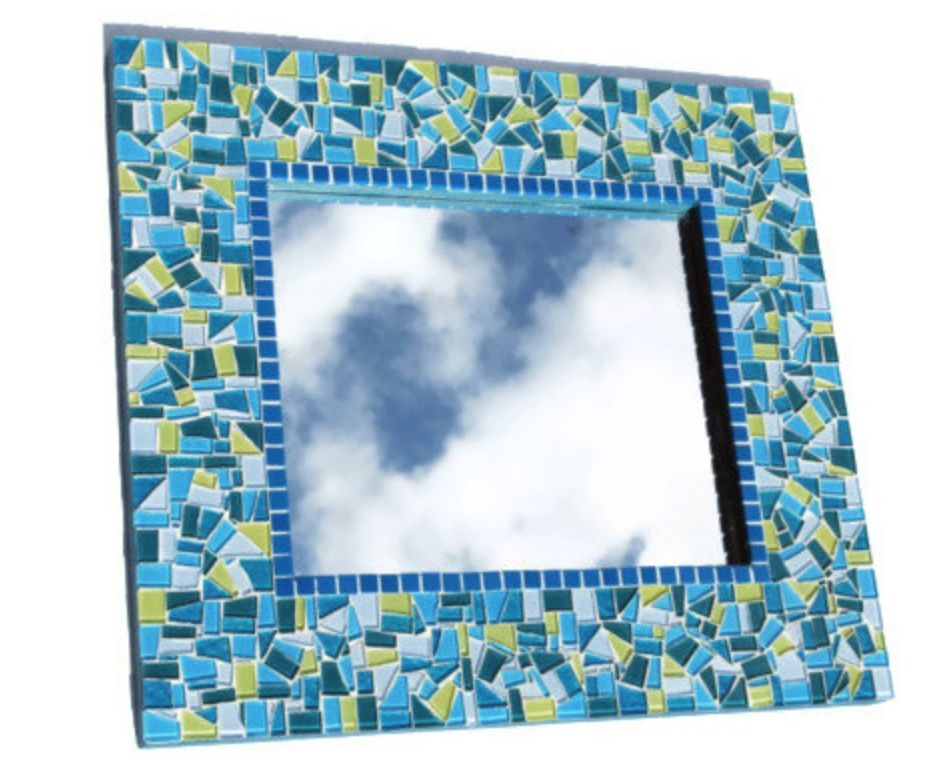 Hand Crafted Large Rectangular Mosaic Mirror by Green