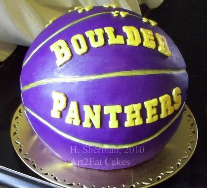 Custom Made Boulder Panthers Purple Basketball Cake