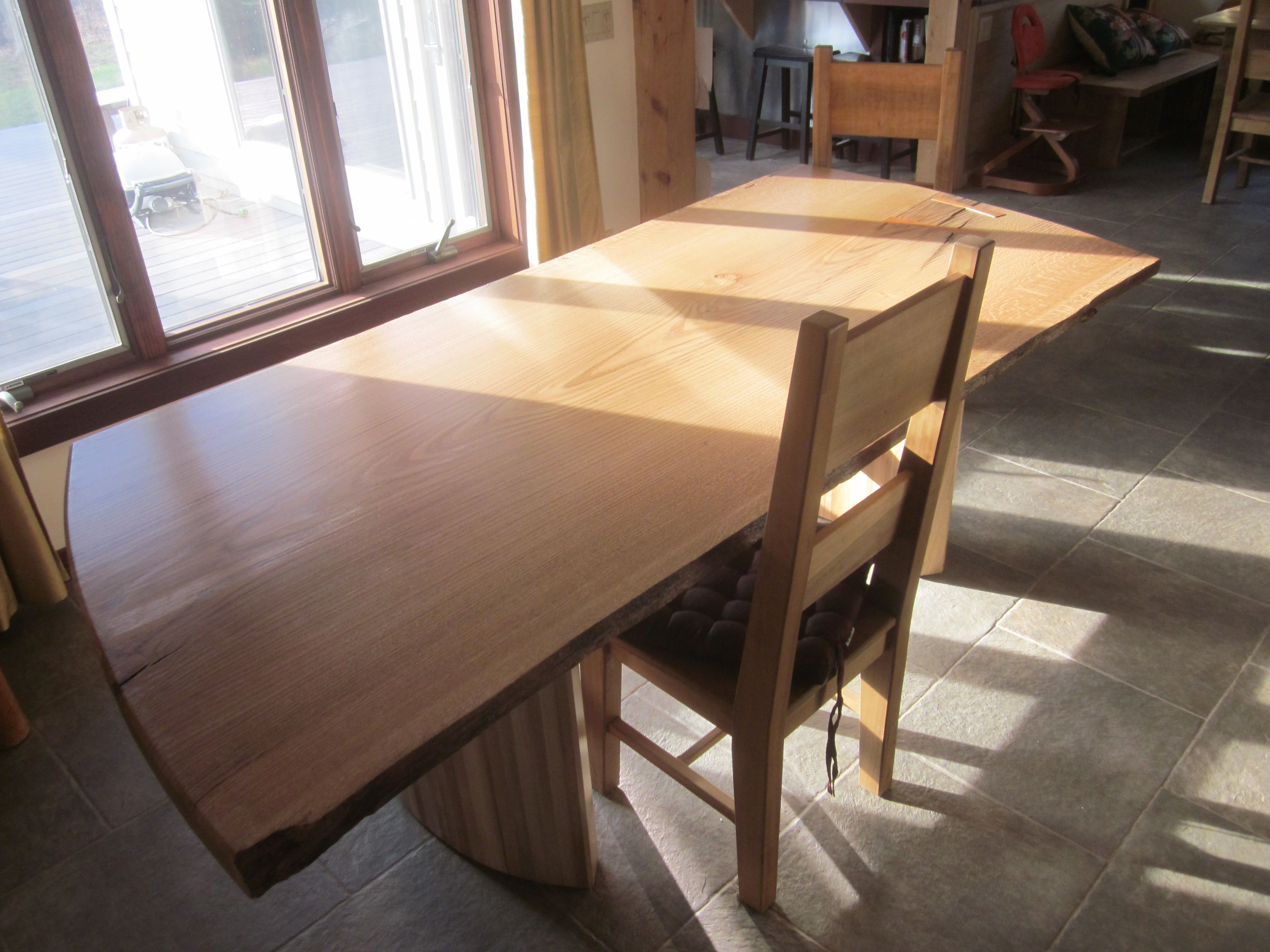 Custom Made Live Edge Slab Dining Table With Curved Maple