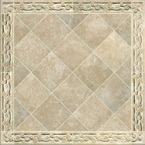 Tiles With Borders: Hand Crafted Carved Travertine Tile Border By Artisan