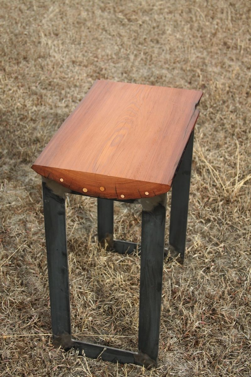 Hand Crafted Redwood Slab Tables Set Of 2 By Yendrabuilt