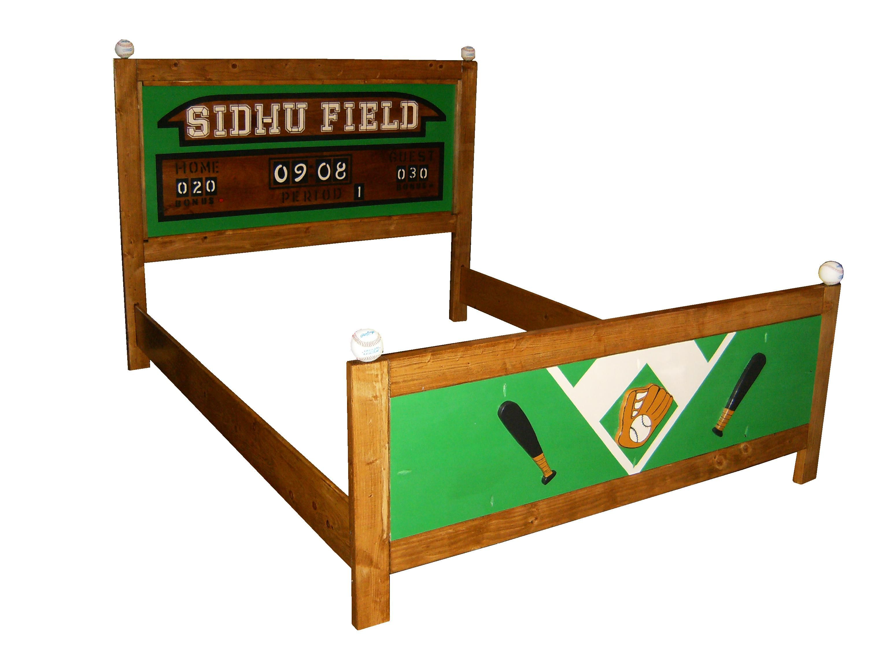 Custom made queen bed frame sports theme baseball for Design your own bed