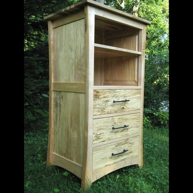 Custom Made Hand-Made, Solid Wood, Spalted Maple Cabinet Media Cabinet